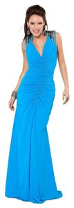 Jovani Halter Open Back Train Dress