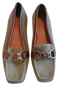 Cole Haan Green Suede.Bronze Leather Flats