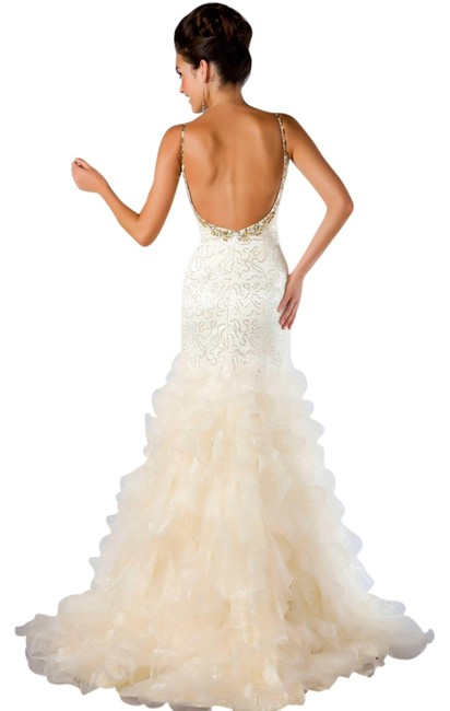 Item - Ivory/ Gold New 64321m In Ivory/ Long Formal Dress Size 10 (M)