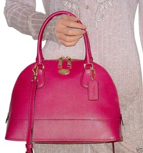 Coach Domed 33909 Cora Dome Satchel in Cranberry/ light Gold tone