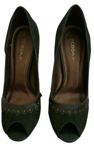 BCBGeneration Bcbg Peep Toe Suede High Heel GREEN Pumps