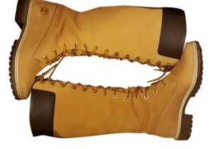 Timberland Lace Up Knee High Tan Boots