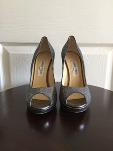Jimmy Choo Silver Pewter Peep Toe Silver, Grey Pumps