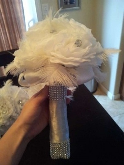 White/Silver/Bling Silk Rose Bridesmaids Bouquets Other