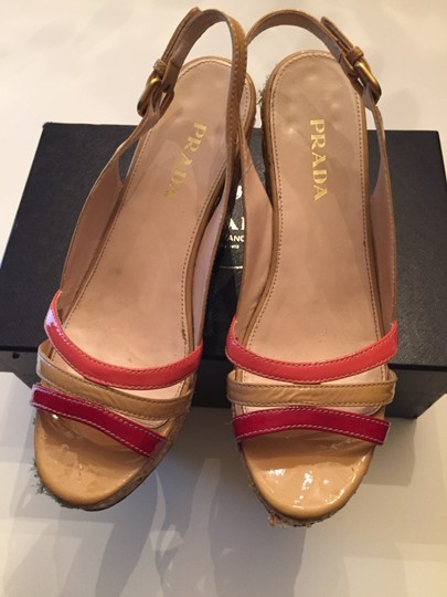 Prada Sandles Next Day Shipping Multivolor Wicker Platforms Red Tan Wedges