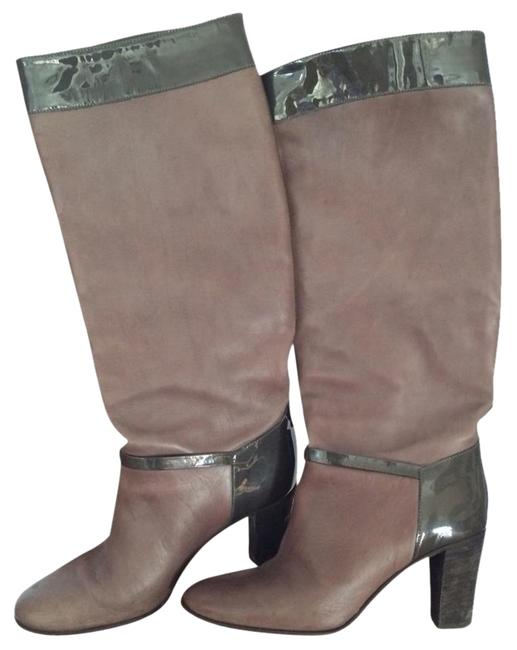 J.Crew Grey Leather and Patent Leather Boots/Booties Size US 7 Regular (M, B) J.Crew Grey Leather and Patent Leather Boots/Booties Size US 7 Regular (M, B) Image 1