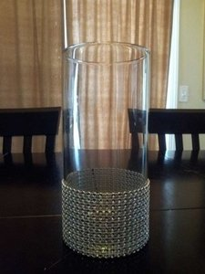 Clear Vases with Bling To Hold Bridesmaids Bouquets Reception Decoration