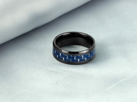Black/Blue Unisex Style Tungsten Carbon Ring Free Shipping Men's Wedding Band