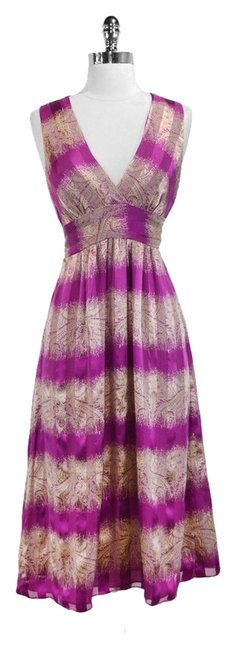 Wendy Hil short dress Magenta/Champagne Silk on Tradesy