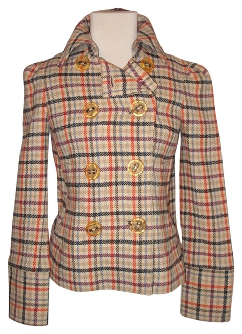 Item - Multi Colored Jacket Knit Double Breasted Plaid Coat Size 6 (S)