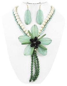 Green & Ivory Acrylic Flower Necklace & Earrings