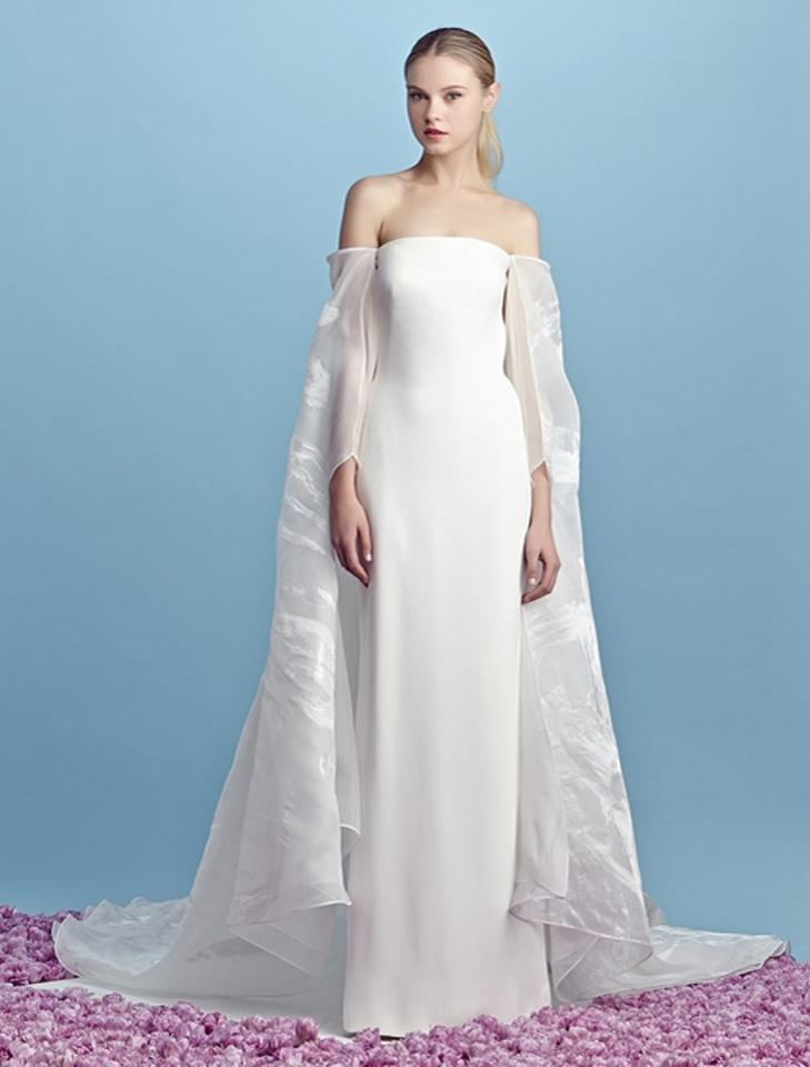 Pamella Roland Light Ivory Silk Georgette Gown with Detachable ...