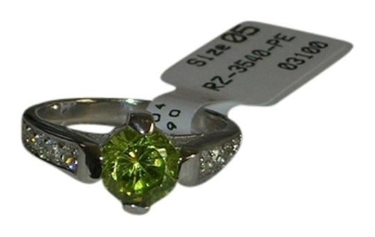 Other 925 Sterling Silver 6mm Round Ct Peridot & White Topaz Ring