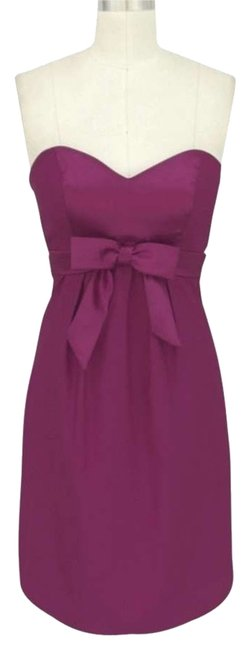 Purple Satin Sweetheart Bow Formal Size:med Short Cocktail Dress Size 8 (M) Purple Satin Sweetheart Bow Formal Size:med Short Cocktail Dress Size 8 (M) Image 1