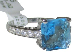 Other 925 Sterling Silver Princess Cut London Blue & White Topaz Ring Size 7