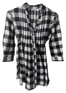 Kimchi Blue Blouse Checks Button Down Shirt Black,White