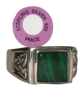 Other Mens 925 Sterling Celtic Genuine Malachite Gemstone Ring