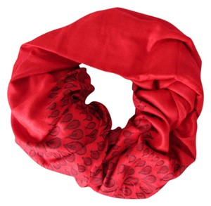 Other Red Reversible Pashmina, Geometric Pattern with PomPoms