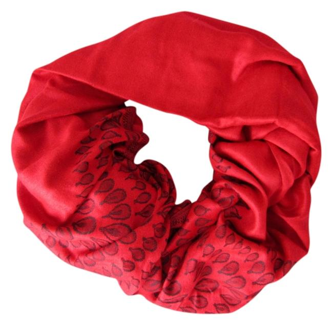 Red Reversible Pashmina Geometric Pattern with Pompoms Scarf/Wrap Red Reversible Pashmina Geometric Pattern with Pompoms Scarf/Wrap Image 1