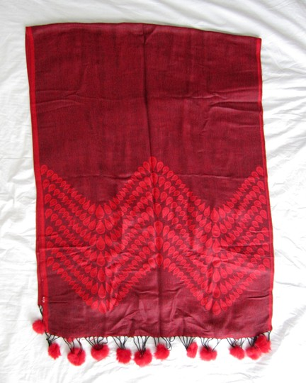 Other Red Reversible Pashmina, Geometric Pattern with PomPoms Image 1