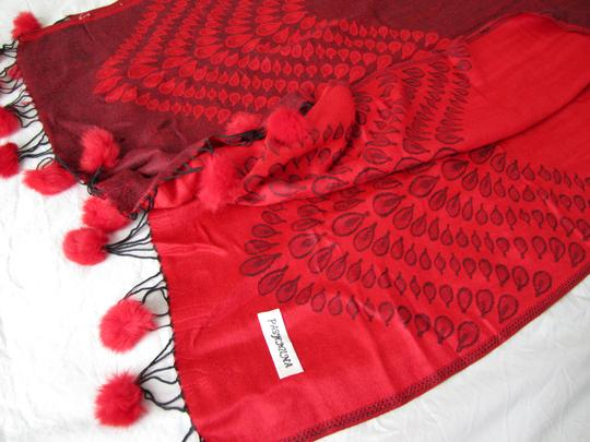 Other Red Reversible Pashmina, Geometric Pattern with PomPoms Image 4