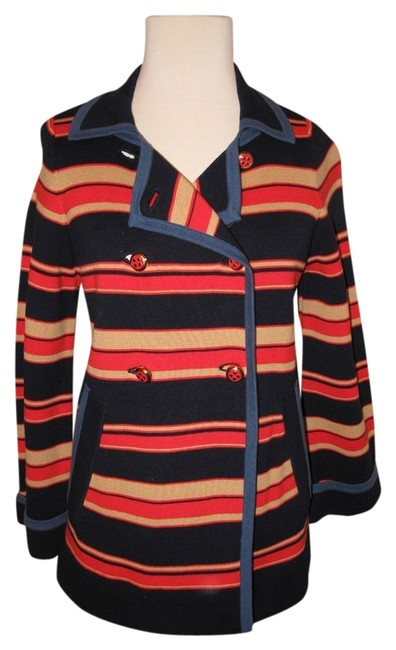 Item - Multi Colored Knit Double Breasted Striped Coat Size 8 (M)