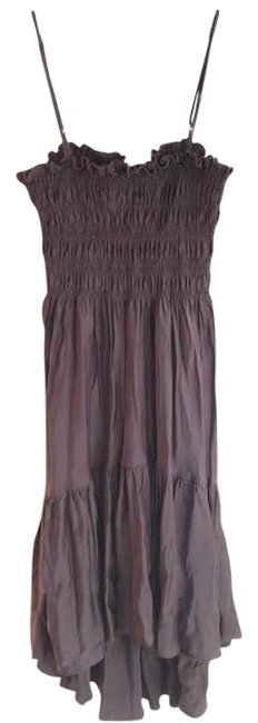 Item - Brown Silk 1970 High-low Night Out Dress Size 4 (S)