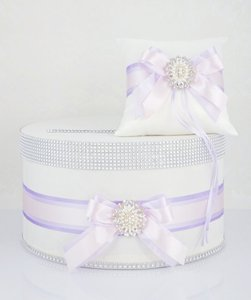 Set - Card Box / Money Box and Ring Pillow - Ombre Lavender Flower Girl Accessory
