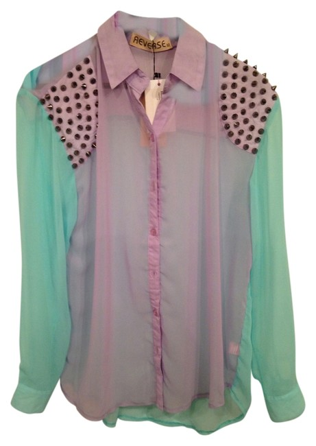 Reverse Color Block Sheer Studded Button Down Shirt Mint green & lavender