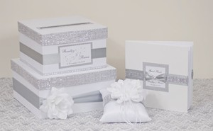 Wedding Set - Wedding Box + Guest Book + Pillow - Silver