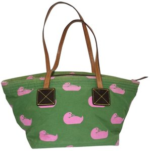 Dooney & Bourke Carla Fabric Ducks & Satchel in Green & Pink