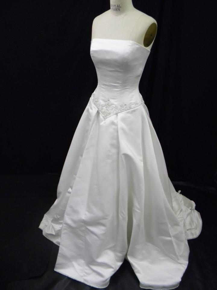 36d73fb26eb Eve of Milady Ivory White Silky Satin Sleeveless A-line Silhouette Formal  Wedding Dress Size ...