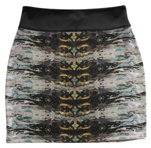 Silence + Noise Colorful Print Print Mini Skirt Black Multi