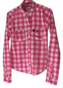 Abercrombie & Fitch Button Down Shirt Pink and white check