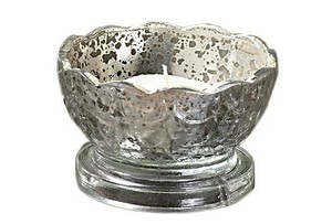 Silver Scalloped Mercury Glass Tealight Holders (Set Of 4) Votive/Candle