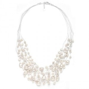 Freshwater Pearls Genuine Crystals Necklace Earrings Jewelry Set