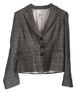 Armani Collezioni blk/wht plaid with salmon Blazer