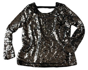 Literature Noir Top Silver Sequined