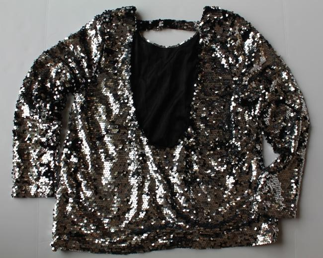 Literature Noir Sweater Top Silver Sequined