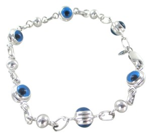 Other 14KT WHITE GOLD EVIL EYE LINK BRACELET BANGLE NO SCRAP FINE JEWELRY GOOD LUCK