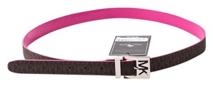 Michael Kors * MICHAEL KORS Leather REVERSIBLE BELT Womens Sig MK Logo PINK BROWN
