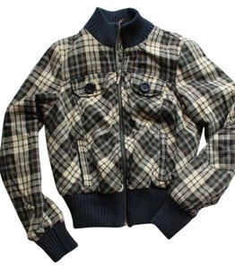 Guess Plaid Fall Blue Multi Jacket