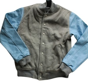 American Apparel Leather Leather Light Grey & Blue Leather Jacket