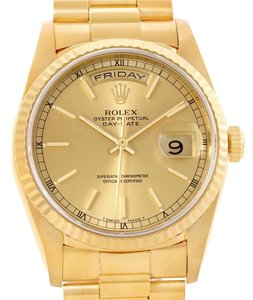 Rolex Rolex President Day Date Mens 18k Yellow Gold Watch 18238 Box Papers
