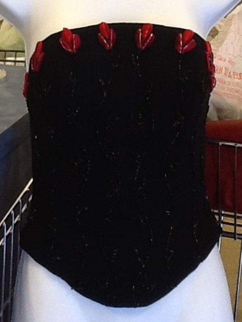 Mike Benet Formals Top Corset: Black with Red Accents