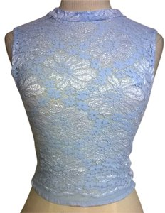 Lisa Nieves Lace Stretchy Crop Casual Top sky blue