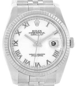 Rolex Rolex Datejust Steel 18K White Gold White Roman Dial Watch 116234