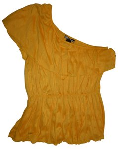Planet Gold One-shoulder Boho Crinkled Wrinkle Club Top Yellow