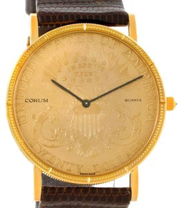 Corum Corum 20 Dollars Double Eagle Yellow Gold Coin Brown Strap Watch