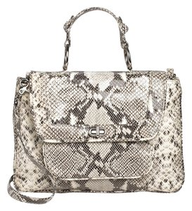 Rebecca Minkoff Satchel in white/gray snakeskin print